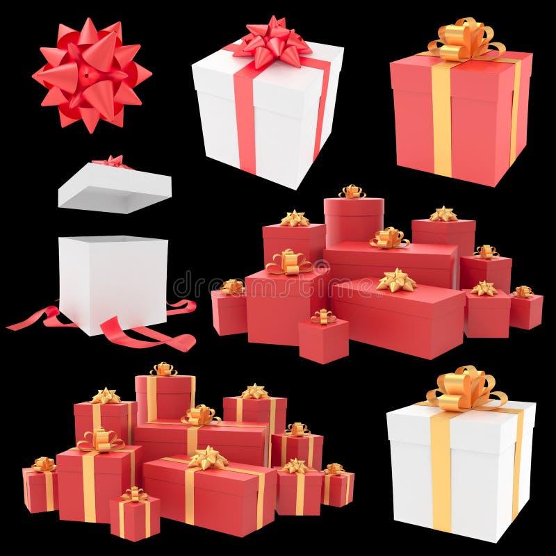 Bożenarodzeniowi prezentów pudełka z tasiemkową kolekcją fotografia royalty free