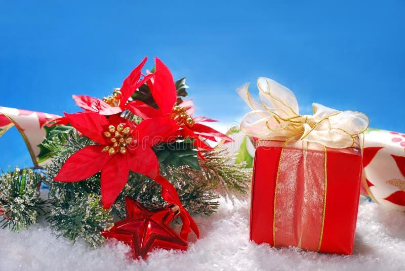 Bożenarodzeniowi prezent poinseci i pudełka kwiaty na śniegu fotografia stock