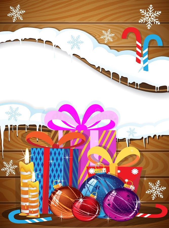 Bożenarodzeniowi prezenty, baubles i cukierek trzciny, ilustracji
