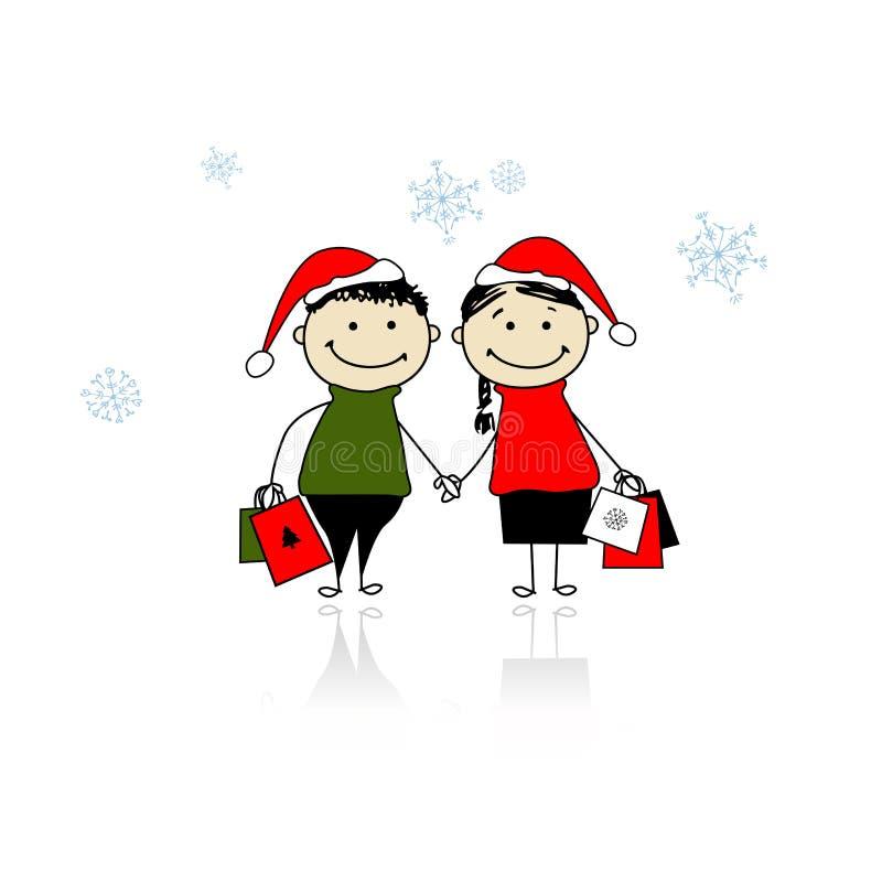 Bożenarodzeniowi prezenty. Rodzina z torba na zakupy ilustracja wektor
