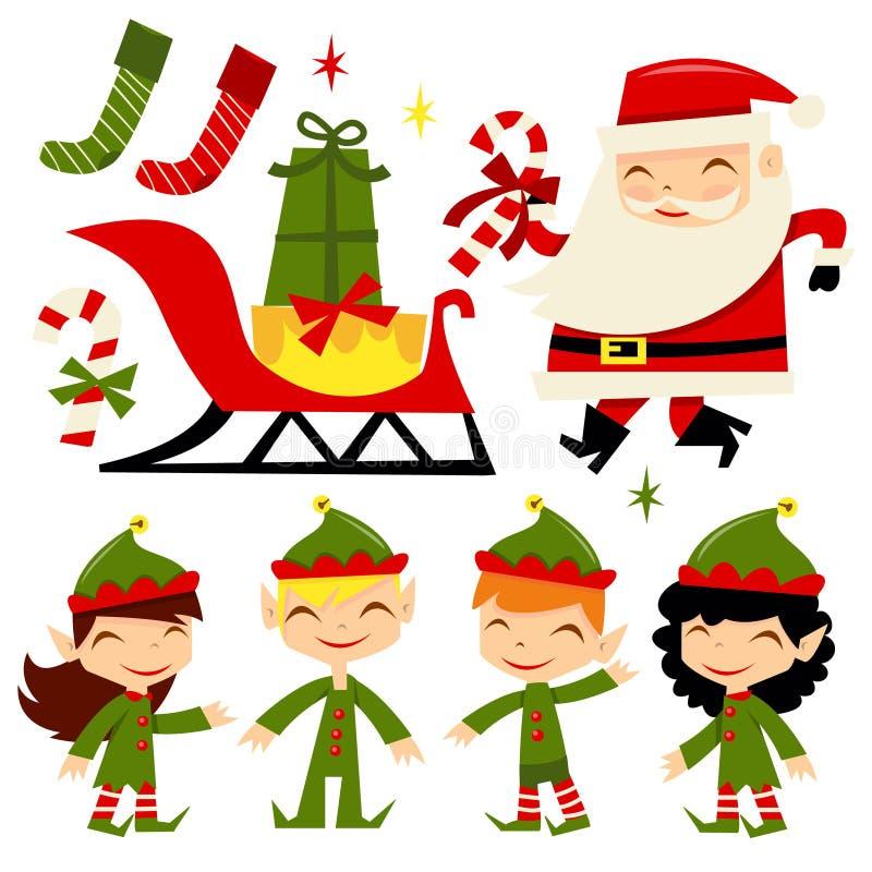 Bożenarodzeniowi Santa elfy royalty ilustracja