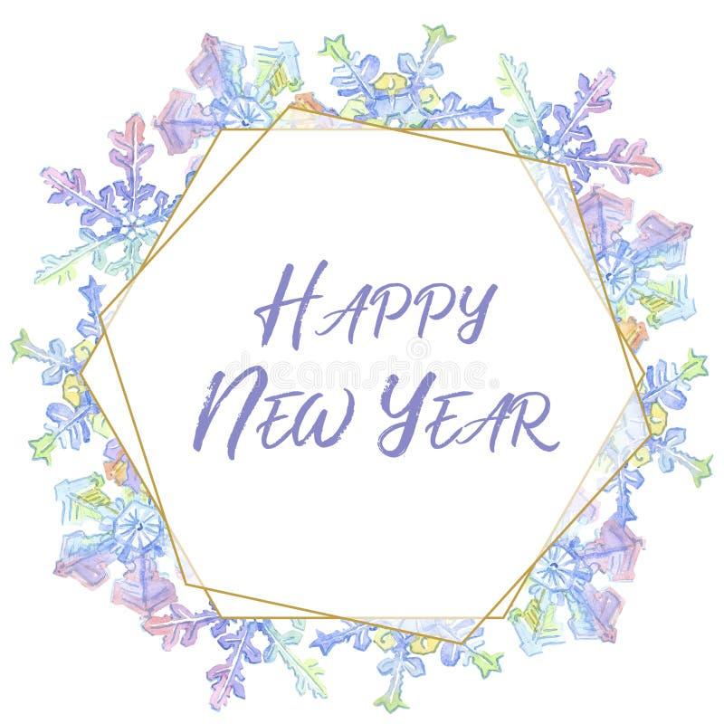 Bożenarodzeniowi snowflaks Szczęśliwa nowego roku handwriting monograma kaligrafia Akwareli ramy granicy mozaiki krystaliczny ksz royalty ilustracja
