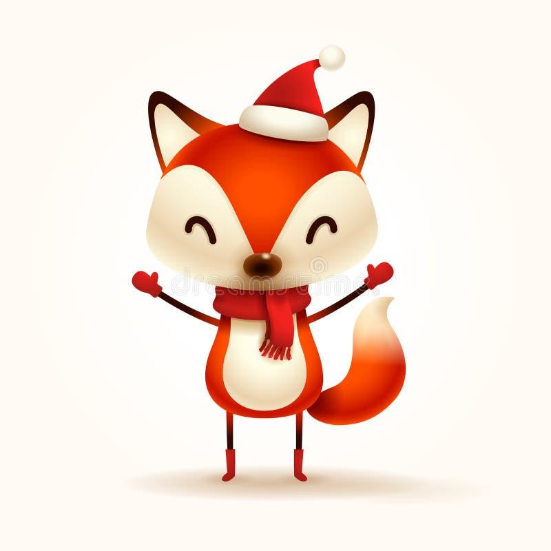 Bożenarodzeniowy Śliczny Mały Fox z Czerwonym szalikiem i Santa's nakrętką royalty ilustracja