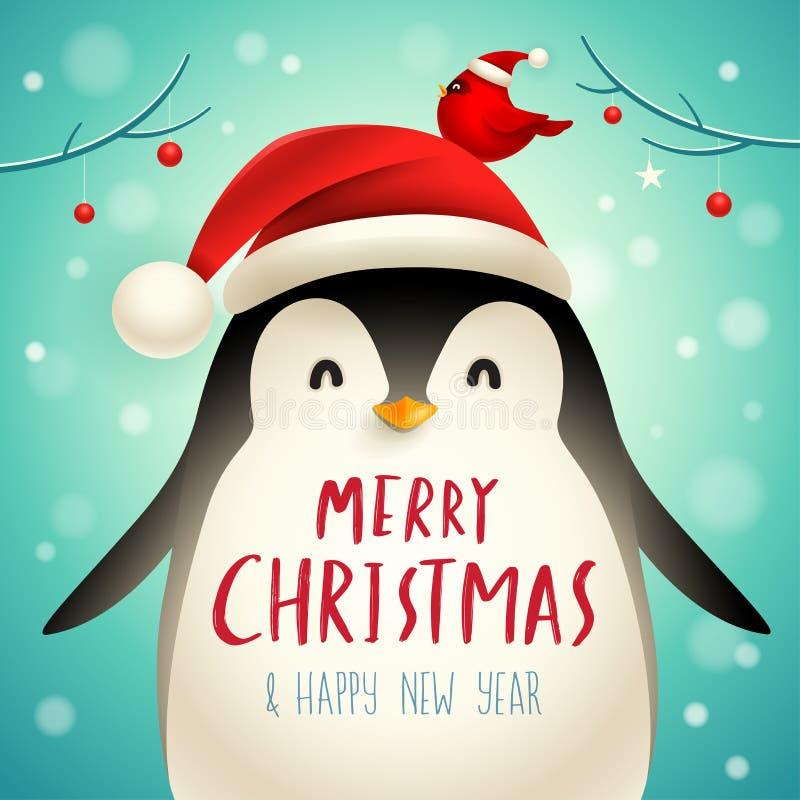 Bożenarodzeniowy Śliczny Mały pingwin z Santa's nakrętką ilustracja wektor
