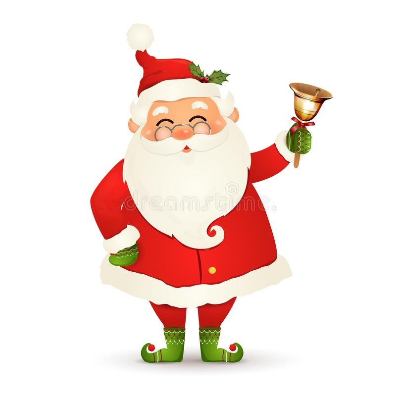 Bożenarodzeniowy Śliczny, Rozochocony, śmieszny Święty Mikołaj z szkłami, bożego narodzenia dźwięczenia złocisty dzwon odizolowyw ilustracji