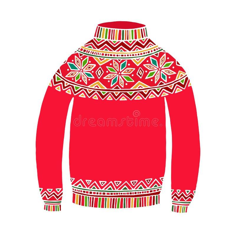 Bożenarodzeniowy śliczny wektorowy pulower na bielu ilustracji