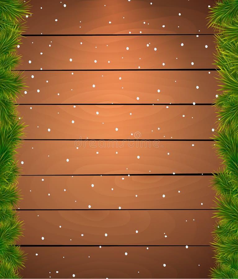 Bożenarodzeniowy śnieżny tło z jedlinowymi gałązkami. Drewniany f ilustracji
