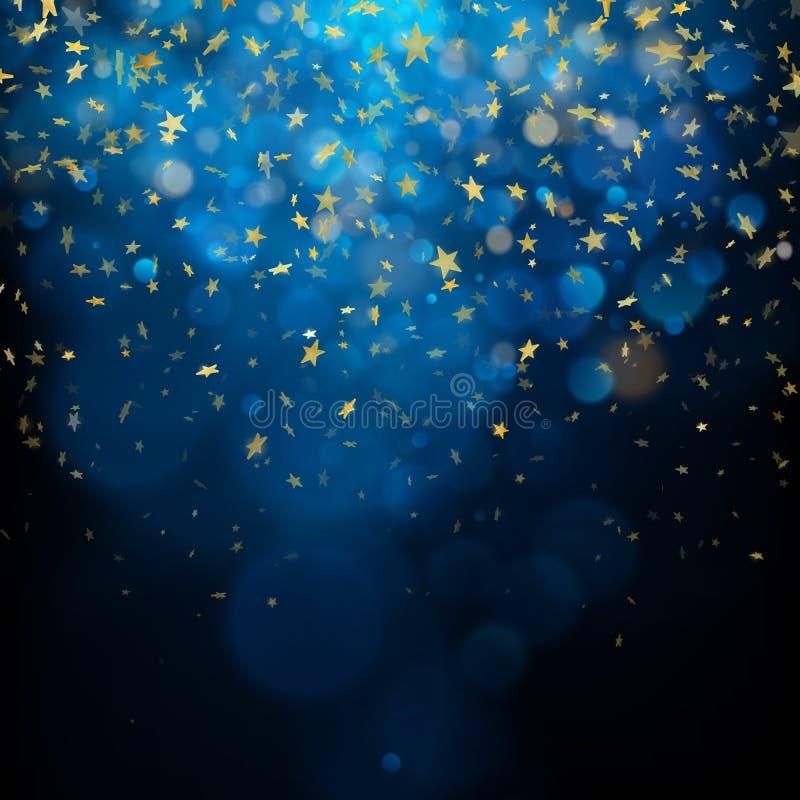Bożenarodzeniowy świętowania lub abstrakta pojęcie Połyskiwać gwiazdy na ciemnym tle 10 eps ilustracja wektor