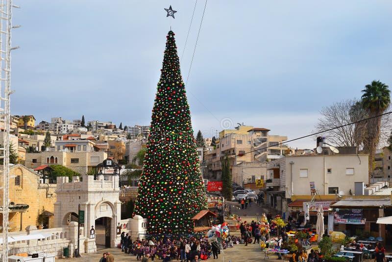 Bożenarodzeniowy świętowanie w Nazareth, Izrael obrazy royalty free
