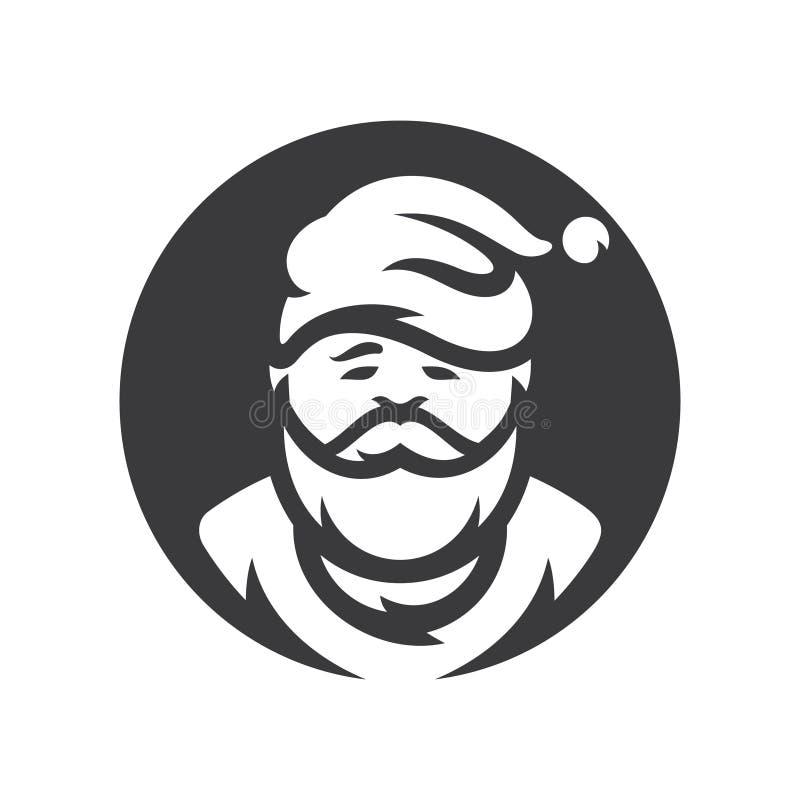 Bożenarodzeniowy Święty Mikołaj sylwetki Wektorowy znak ilustracja wektor