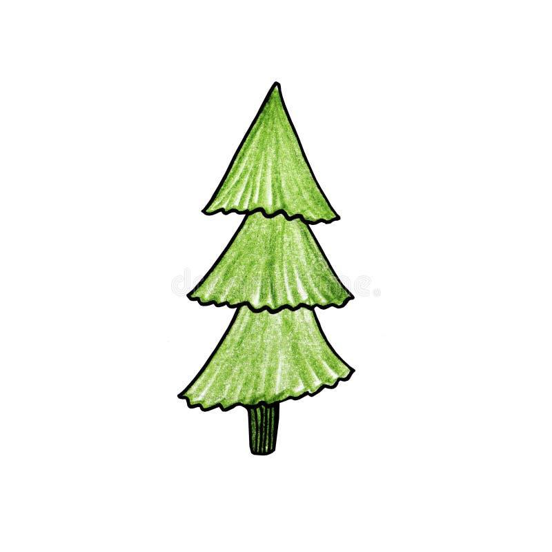 Bożenarodzeniowy świerczyny zieleni drzewo Kreśli z ołówkiem dla kartki z pozdrowieniami, świątecznych zaproszeń, plakatowych lub royalty ilustracja