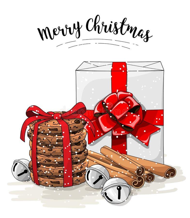 Bożenarodzeniowy życie, biały prezenta pudełko z dużym czerwonym faborkiem, sterta brown ciastek, cynamonu i dźwięczenia dzwony, ilustracji
