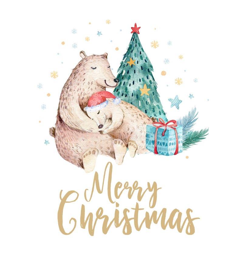 Bożenarodzeniowy akwarela niedźwiedź Śliczny dzieciaka xmas las znosi zwierzęcą ilustrację, nowy rok kartę lub plakat, Ręka rysuj royalty ilustracja