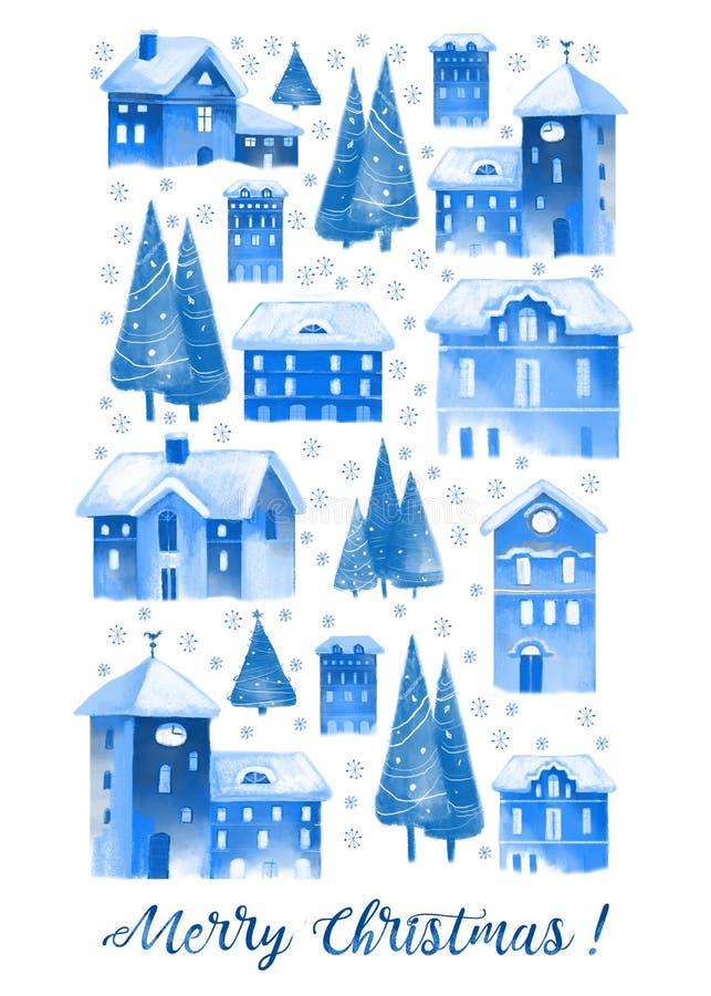Bożenarodzeniowy akwareli kartka z pozdrowieniami z domami i drzewami obraz royalty free