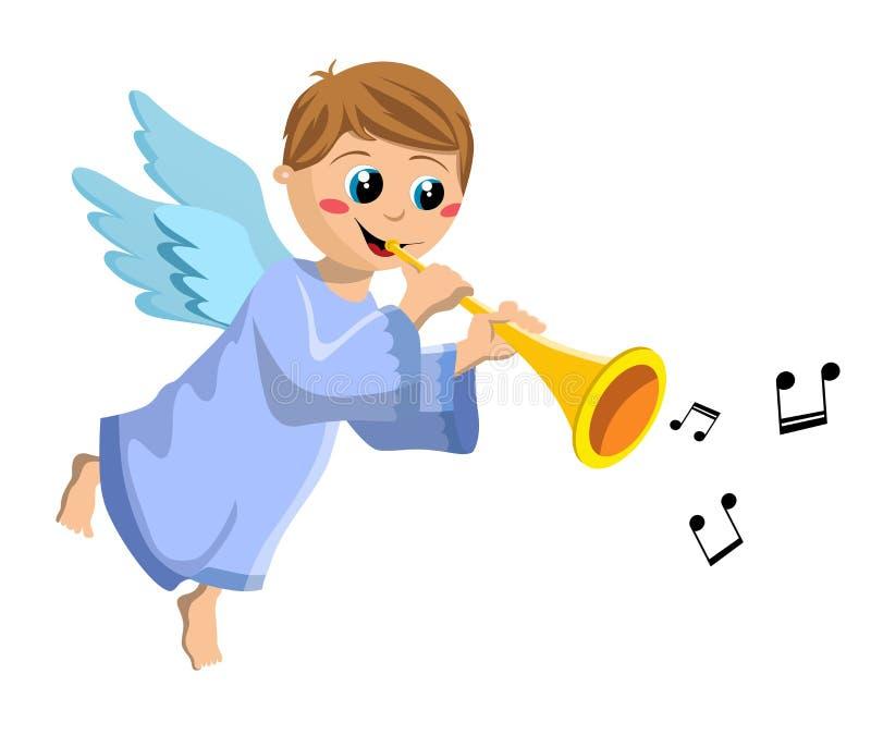 Bożenarodzeniowy anioła dzieciak Bawić się trąbkę ilustracja wektor