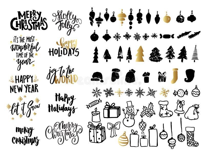 Bożenarodzeniowy ans nowego roku projekta set Wakacyjni dekoracja elementy: noel, piłki, płatki śniegu, prezenty Ręka pisać liter ilustracji
