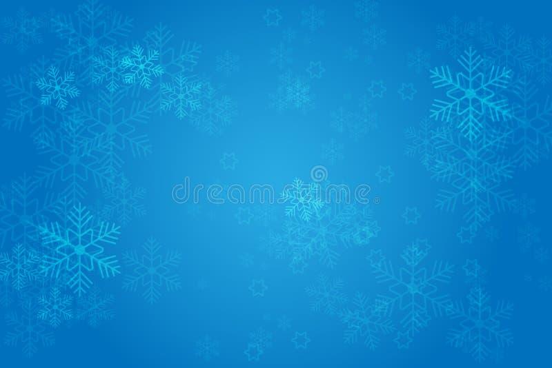 Bożenarodzeniowy błękitny tło z rozjarzonymi płatkami śniegu i bokeh Vertor ilustracja ilustracja wektor