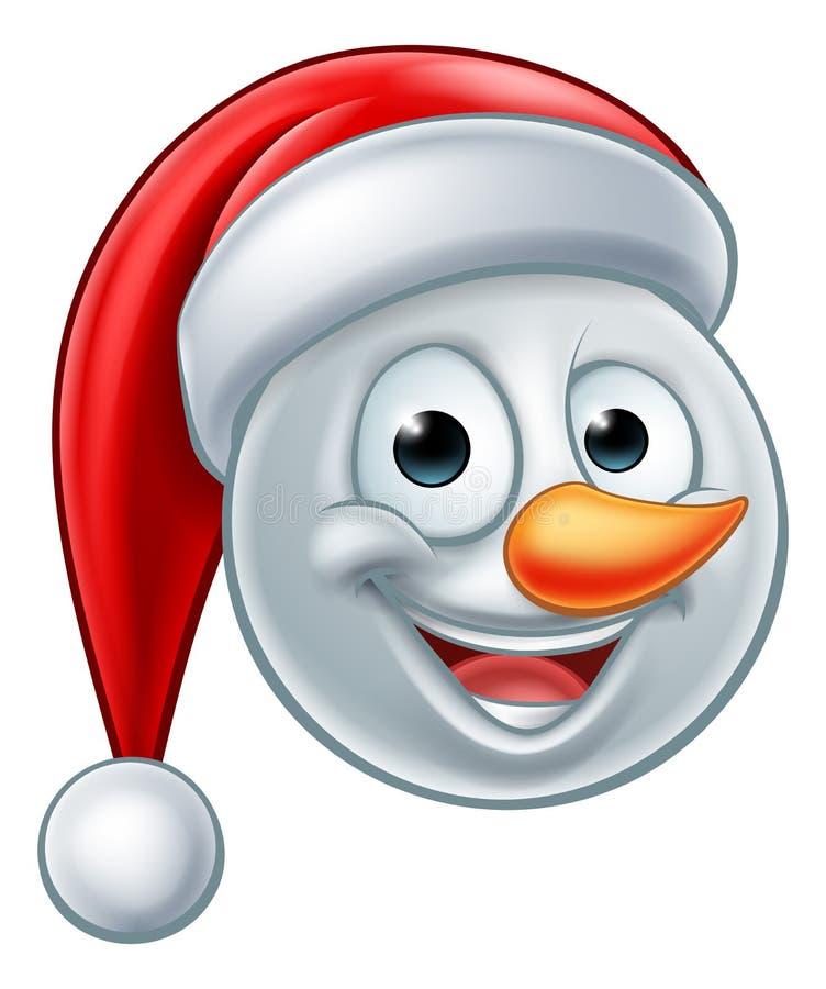 Bożenarodzeniowy bałwanu Santa kapelusz Emoji ilustracja wektor