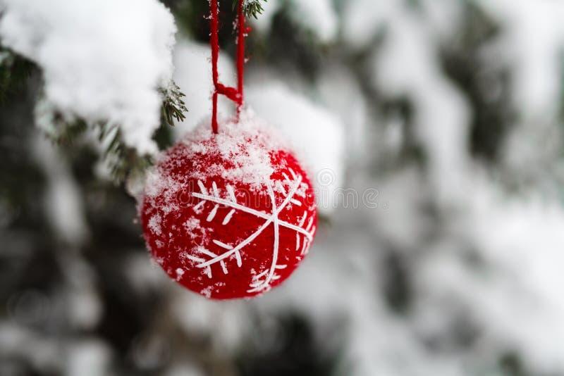 Bożenarodzeniowy bauble z białym ornamentem wiesza na gałąź jedlinowy outside fotografia royalty free