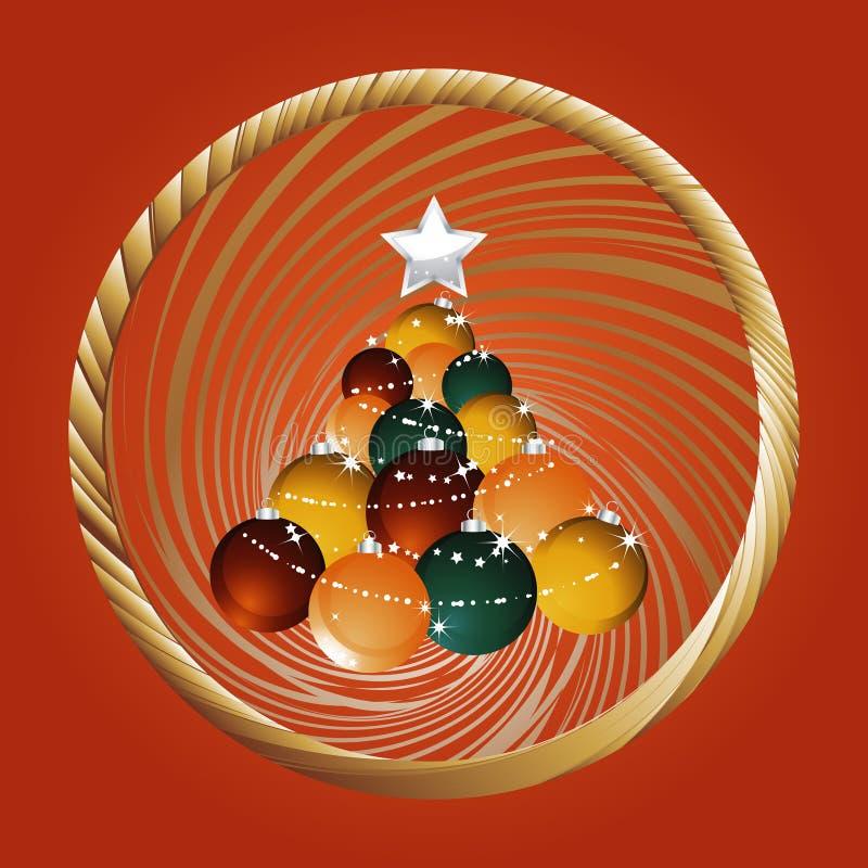 Bożenarodzeniowy baubles drzewo i złota granica na czerwieni royalty ilustracja