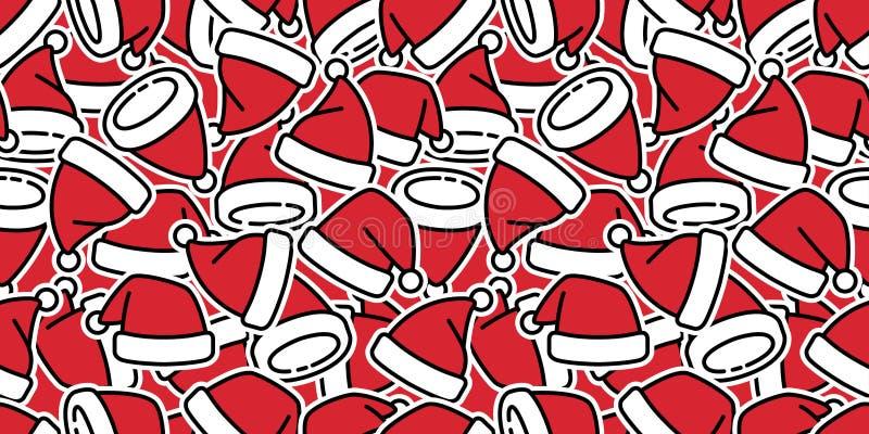 Bożenarodzeniowy bezszwowy deseniowy wektorowy kapeluszowy szalik odizolowywający Święty Mikołaj Xmas prezenta opakunku papieru k ilustracja wektor
