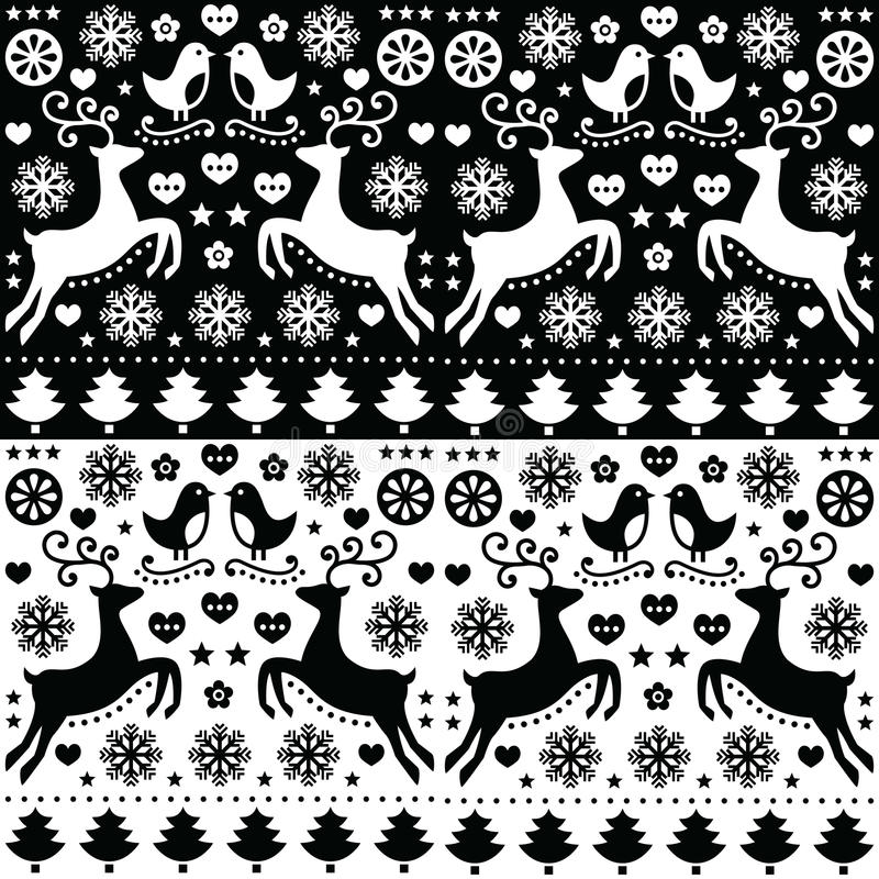 Bożenarodzeniowy bezszwowy monochromu wzór z reniferem - ludu styl ilustracji