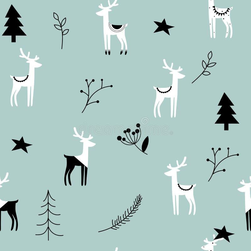 Bożenarodzeniowy bezszwowy paska wzór Skandynawscy motywy Północny ornament z rogaczem royalty ilustracja