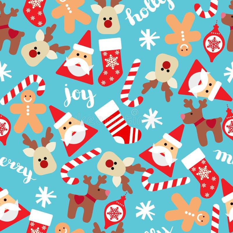 Bożenarodzeniowy bezszwowy tło z Santa, skarpetami, prezentów pudełkami i cukierek trzcinami, Wektorowy bezszwowy mieszkanie wzór ilustracja wektor