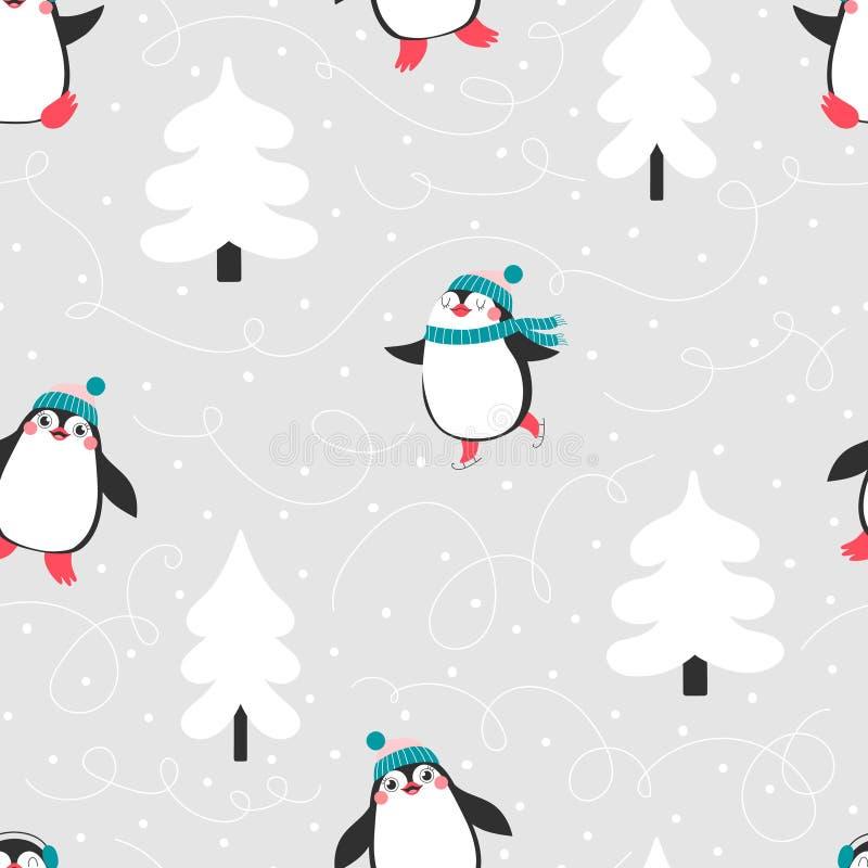 Bożenarodzeniowy bezszwowy wzór z ślicznymi pingwinami obraz stock