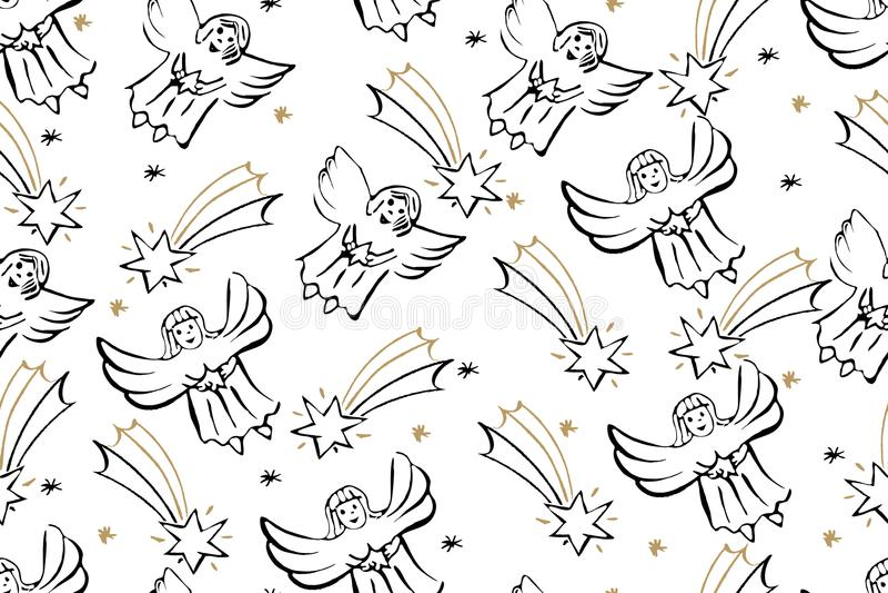 Bożenarodzeniowy Bezszwowy wzór Z aniołami I gwiazdą Betlejem Ve ilustracja wektor