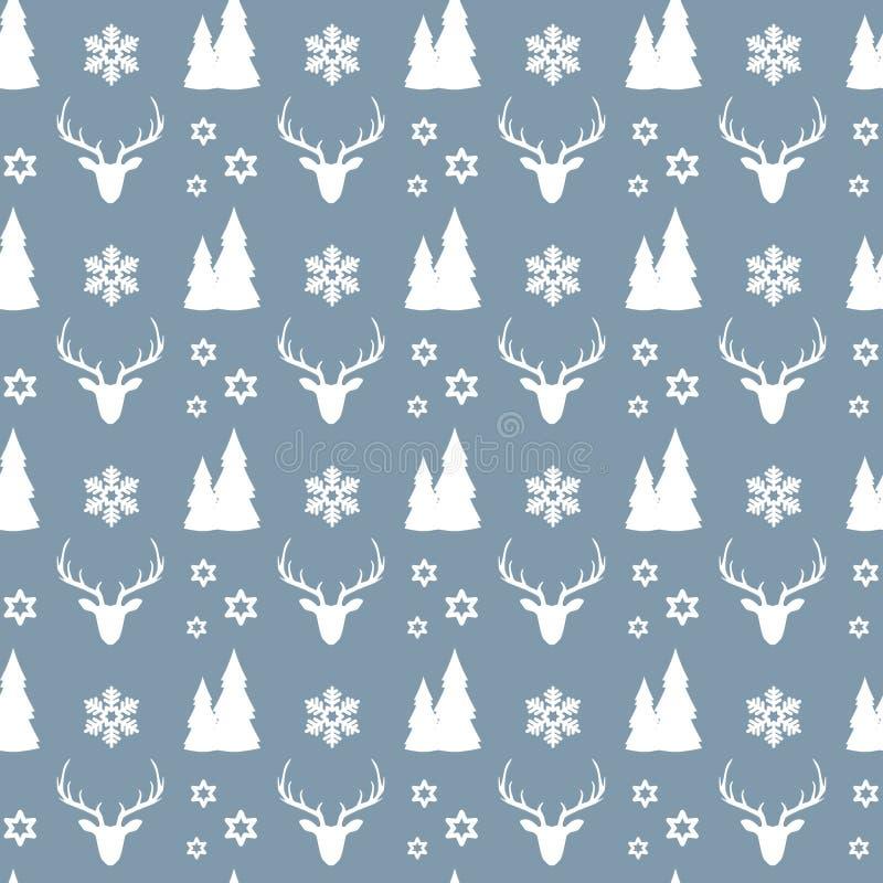 Bożenarodzeniowy bezszwowy wzór z białymi deers, domami, jedlinowymi drzewami, płatek śniegu i gwiazdami na błękitnym tle, ilustracji