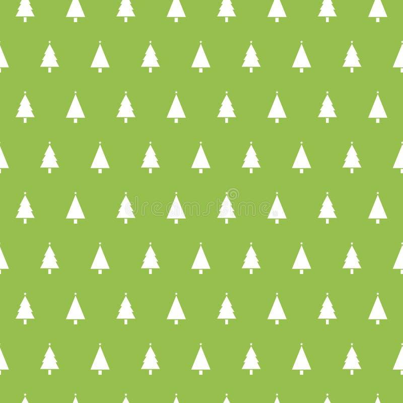 Bożenarodzeniowy bezszwowy wzór z choinkami na zielonym tle Zima wakacji tekstura Projekt dla tapety, sieć ilustracji