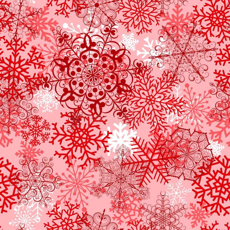 Bożenarodzeniowy bezszwowy wzór z czerwonymi płatkami śniegu royalty ilustracja