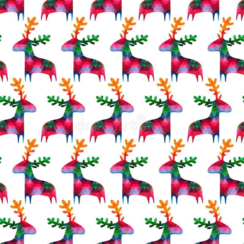 Bożenarodzeniowy bezszwowy wzór z kolorowymi deers ilustracja wektor