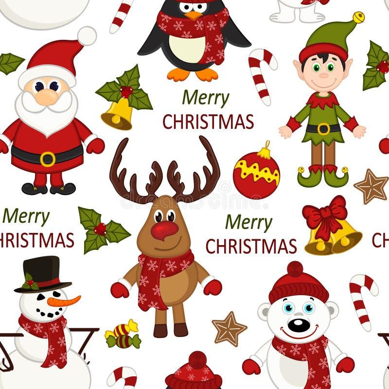 Bożenarodzeniowy bezszwowy wzór z Santa, pingwin, rogacz, niedźwiedź, bałwan, elf ilustracja wektor