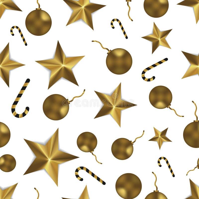 Bożenarodzeniowy bezszwowy wzór z złotymi zabawkami, gwiazdami i cukierkiem, Świąteczny biały i złocisty tło fotografia royalty free