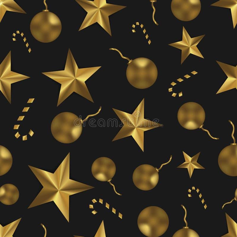 Bożenarodzeniowy bezszwowy wzór z złotymi zabawkami, gwiazdami i cukierkiem, Świąteczny czarny i złocisty tło obrazy stock