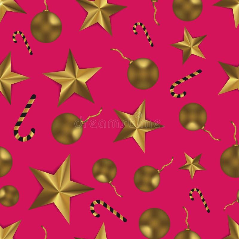 Bożenarodzeniowy bezszwowy wzór z złotymi zabawkami, gwiazdami i cukierkiem, Świąteczny menchii i złota tło zdjęcie stock