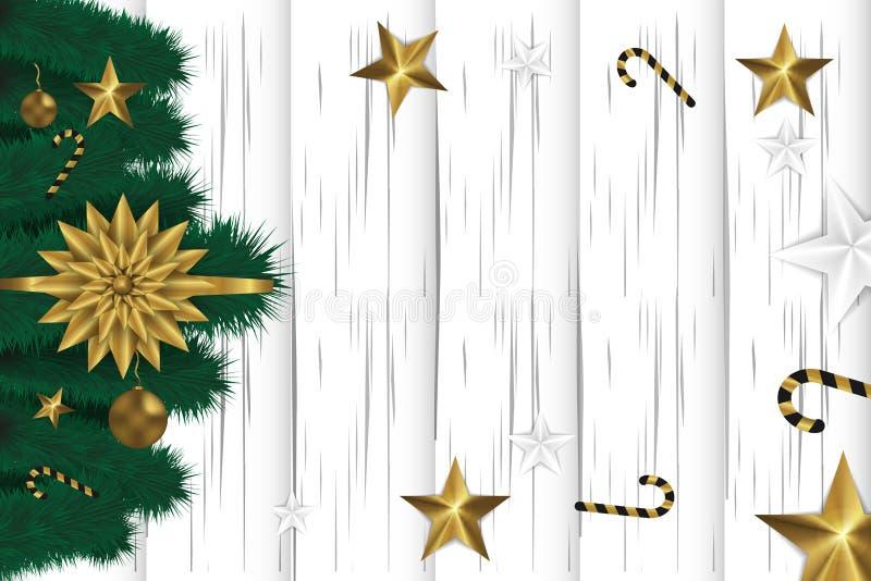Bożenarodzeniowy biały drewniany tło z jodły gałąź, złotymi zabawkami, gwiazdami i cukierkiem, kosmos kopii szczęśliwego nowego r zdjęcie royalty free