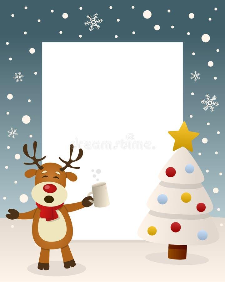 Bożenarodzeniowy Biały drzewo - Pijący renifer ilustracja wektor