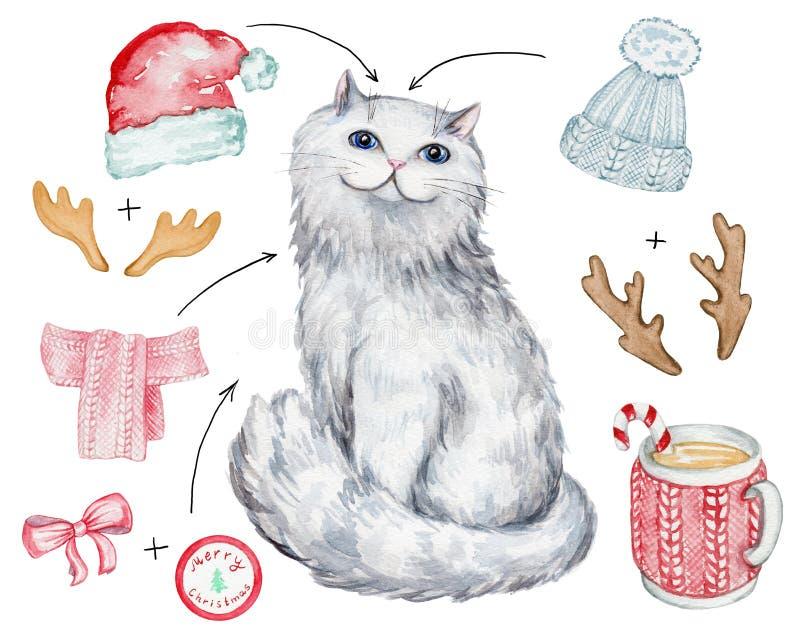 Bożenarodzeniowy biały kot ilustracja wektor
