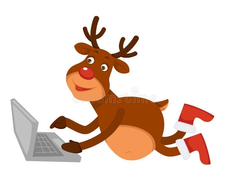Bożenarodzeniowy biegunowy rogacz w butach kłama laptop i używa ilustracji