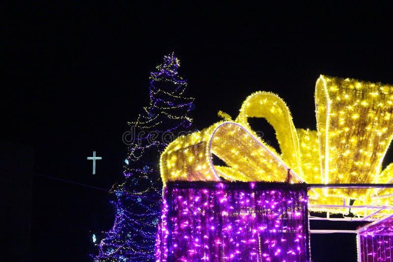 Bożenarodzeniowy Blagoevgrad z ciekawą dekoracją jako boże narodzenie prezent od Bułgaria fotografia royalty free