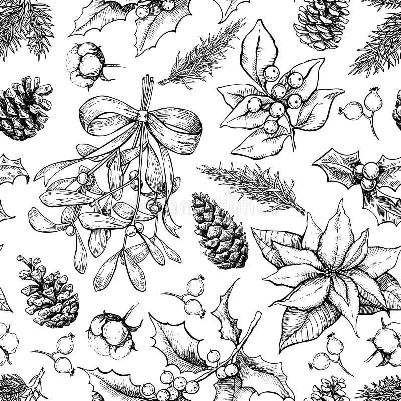 Bożenarodzeniowy botaniczny bezszwowy wzór ręka patroszony wektor royalty ilustracja