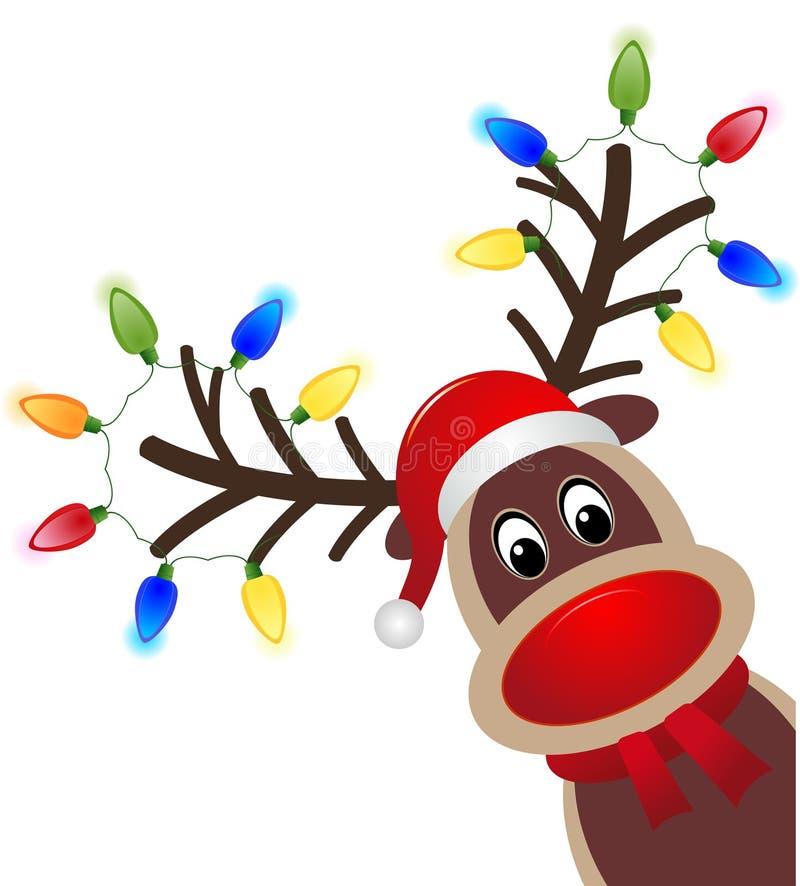 Bożenarodzeniowy charakter Rudolph z światłem Głowa Szczęśliwy renifer z czerwonym nosem royalty ilustracja