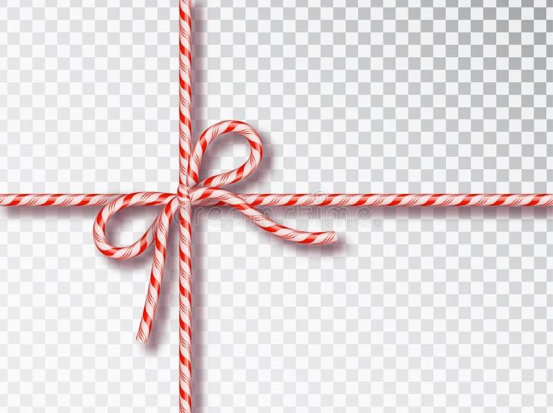 Bożenarodzeniowy cukierku prezenta wiązać odizolowywam Pusty boże narodzenie projekt, realistyczna kręcona sznur rama, czerwieni  ilustracji