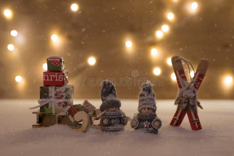 Bożenarodzeniowy czas z śniegiem zdjęcia stock