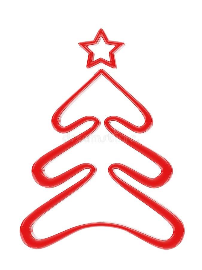 Bożenarodzeniowy czerwony drzewo ilustracji