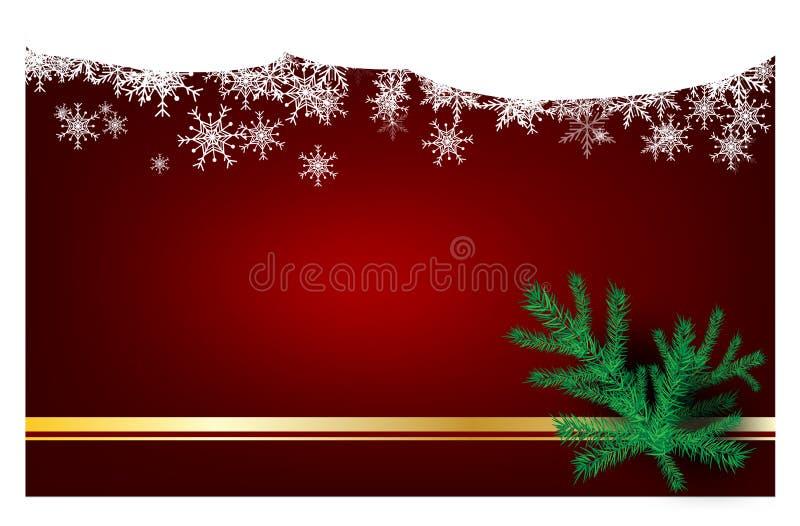 Bożenarodzeniowy czerwony tło z choinka Szczęśliwym nowym rokiem Dla Życzyć kartę, kartka z pozdrowieniami Z złotymi faborkami ilustracja wektor