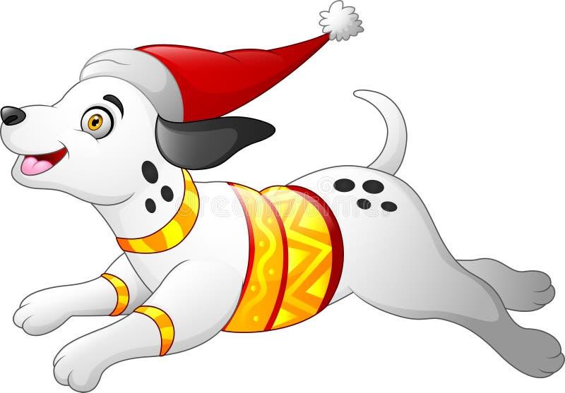 Bożenarodzeniowy dalmatian pies ilustracji